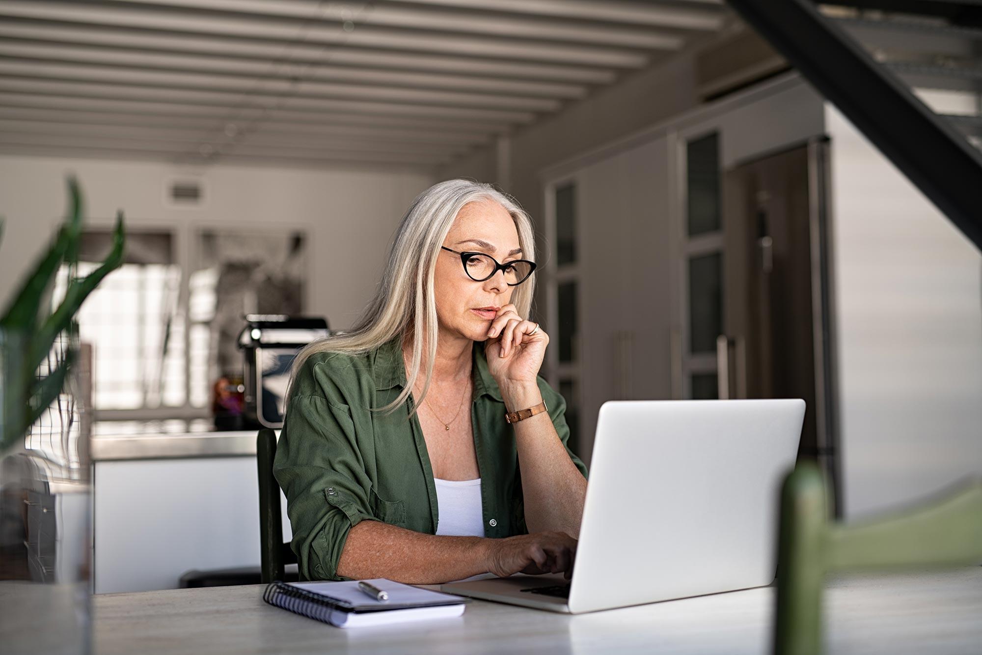 Woman researching symptoms